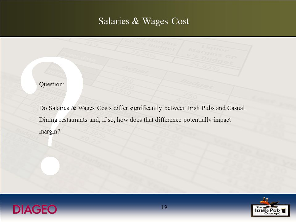 19 Salaries & Wages Cost Question: Do Salaries & Wages Costs differ significantly between Irish Pubs and Casual Dining restaurants and, if so, how does that difference potentially impact margin