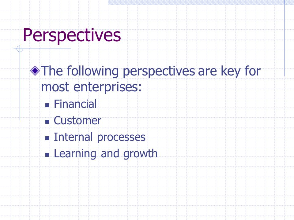 Perspectives The following perspectives are key for most enterprises: Financial Customer Internal processes Learning and growth