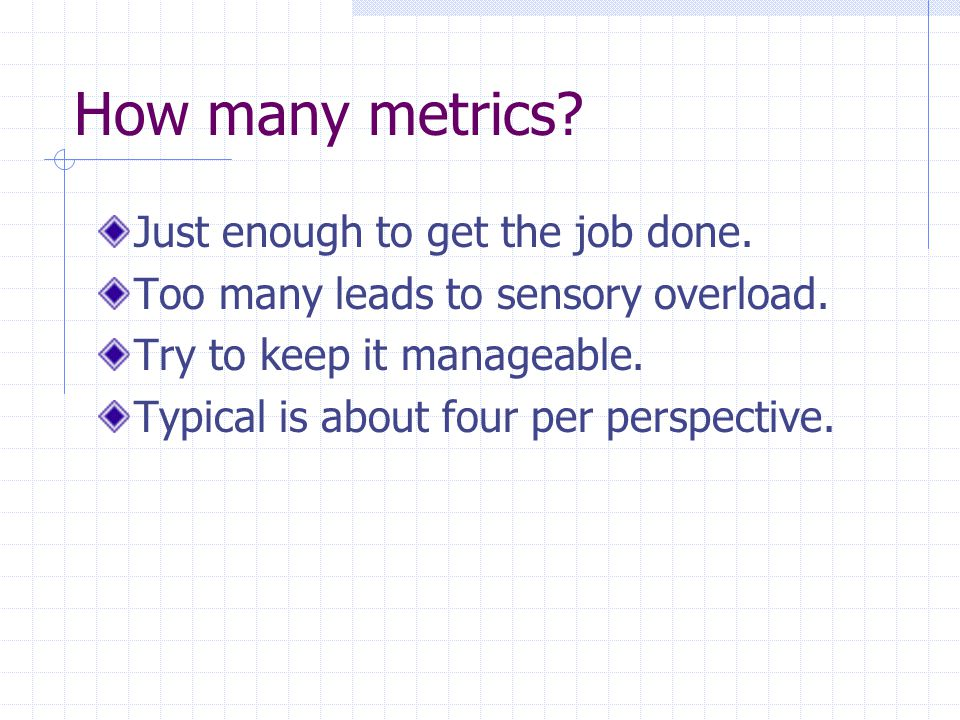 How many metrics. Just enough to get the job done.