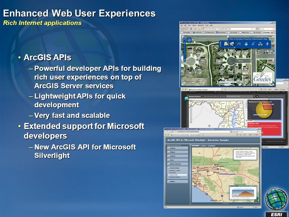 Enhanced Web User Experiences Rich Internet applications ArcGIS APIsArcGIS APIs –Powerful developer APIs for building rich user experiences on top of