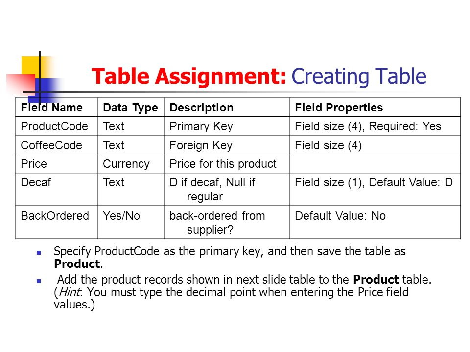 Table Assignment: Creating Table Specify ProductCode as the primary key, and then save the table as Product.