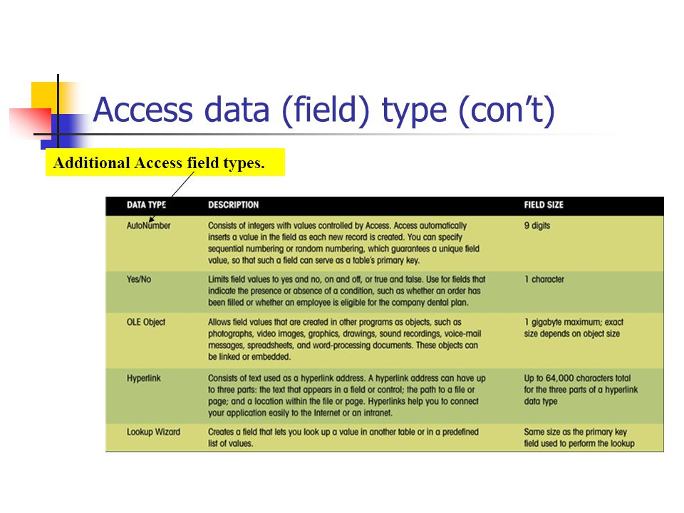 Access data (field) type (cont) Additional Access field types.