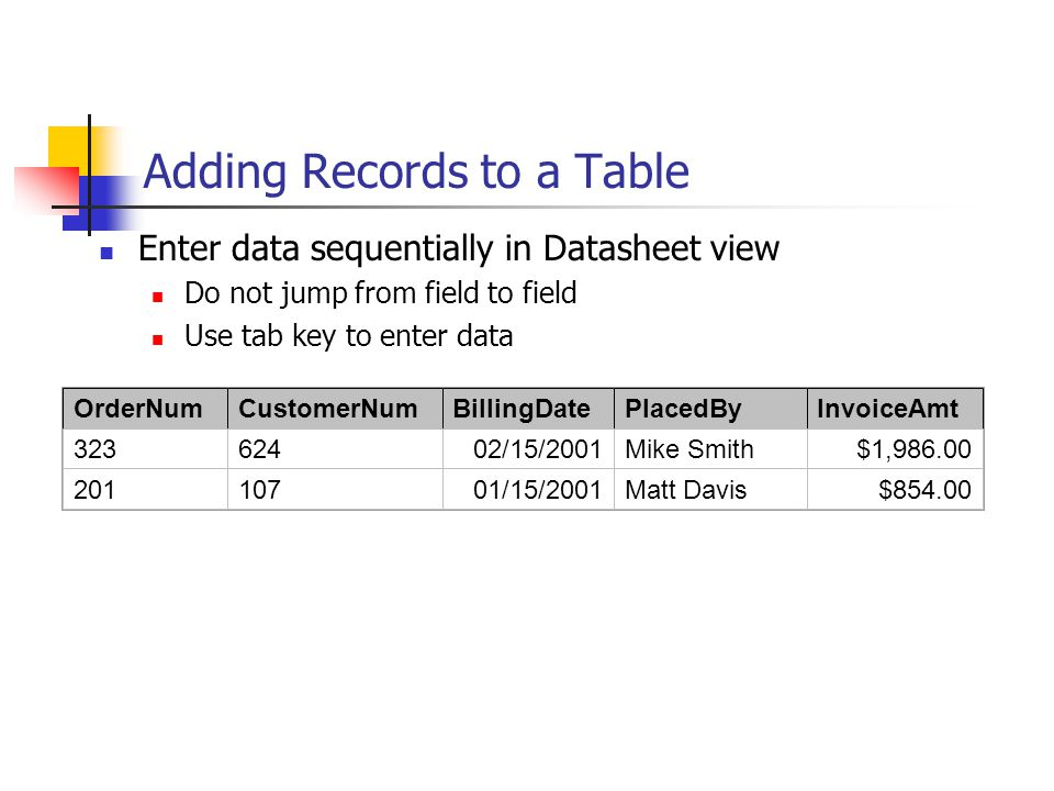 Adding Records to a Table Enter data sequentially in Datasheet view Do not jump from field to field Use tab key to enter data OrderNumCustomerNumBillingDatePlacedByInvoiceAmt 32362402/15/2001Mike Smith$1,986.00 20110701/15/2001Matt Davis$854.00