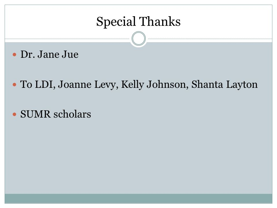 Special Thanks Dr. Jane Jue To LDI, Joanne Levy, Kelly Johnson, Shanta Layton SUMR scholars