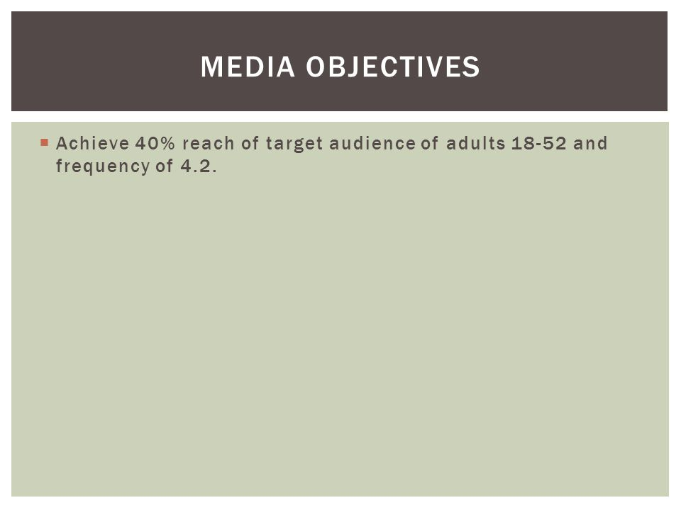 Achieve 40% reach of target audience of adults 18-52 and frequency of 4.2. MEDIA OBJECTIVES