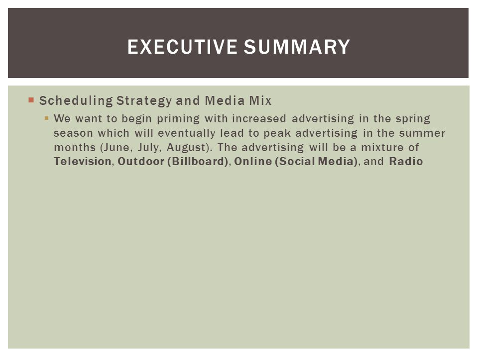 Scheduling Strategy and Media Mix We want to begin priming with increased advertising in the spring season which will eventually lead to peak advertis