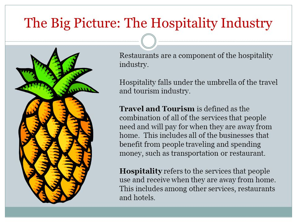 The Big Picture: The Hospitality Industry Restaurants are a component of the hospitality industry. Hospitality falls under the umbrella of the travel