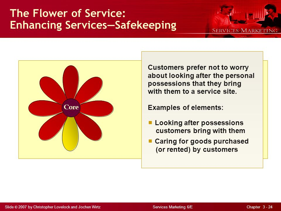 Slide © 2007 by Christopher Lovelock and Jochen Wirtz Services Marketing 6/E Chapter 3 - 24 Core The Flower of Service: Enhancing ServicesSafekeeping Customers prefer not to worry about looking after the personal possessions that they bring with them to a service site.