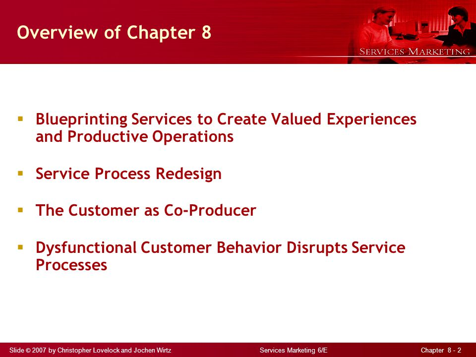 Slide © 2007 by Christopher Lovelock and Jochen Wirtz Services Marketing 6/E Chapter 8 - 23 Customers as Partial Employees Customers can influence productivity and quality of service processes and outputs Customers who are offered opportunities to participate at active level are more likely to be satisfied However, customers cause one-third of all service problems Difficult to recover from instances of customer failure Focus on preventing customer failure by collecting data on problem occurrence, analyzing root causes, and establishing preventive solutions Managing customers as employees helps to avoid customer failures Conduct job analysis of customer s present role in business compare against role that firm would like customers to play Educate customers on how expected to perform and skills needed Motivate customers by ensuring that rewarded if they perform well Appraise customers performance regularly