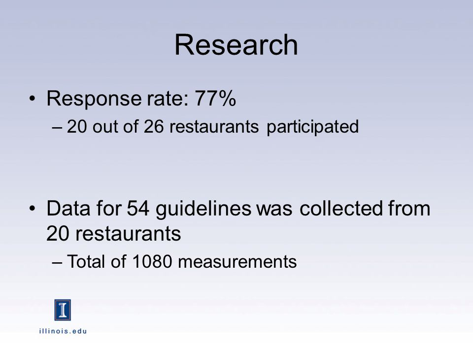 Research Response rate: 77% –20 out of 26 restaurants participated Data for 54 guidelines was collected from 20 restaurants –Total of 1080 measurements