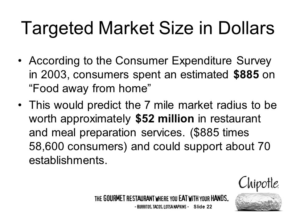 Slide 22 Targeted Market Size in Dollars According to the Consumer Expenditure Survey in 2003, consumers spent an estimated $885 on Food away from home This would predict the 7 mile market radius to be worth approximately $52 million in restaurant and meal preparation services.