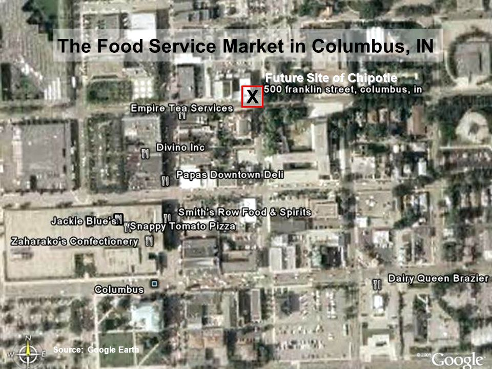 Slide 23 The Food Service Market in Columbus, IN Source: Google Earth Future Site of Chipotle X