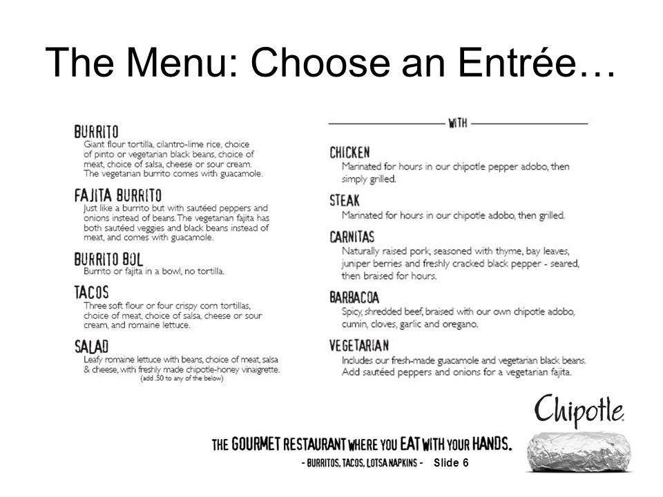 Slide 6 The Menu: Choose an Entrée…