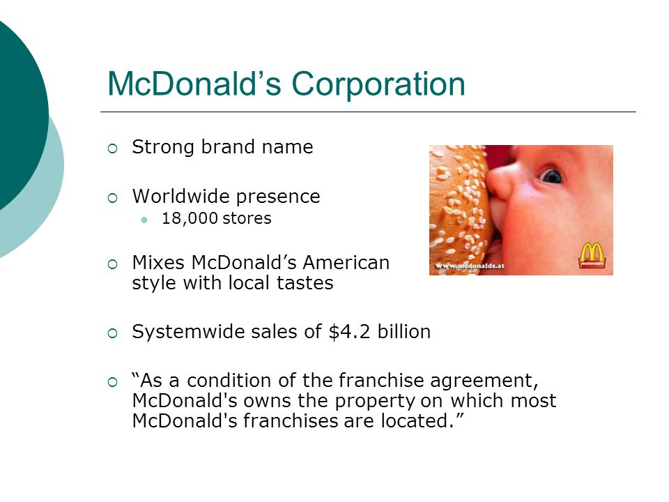 McDonalds Corporation Strong brand name Worldwide presence 18,000 stores Mixes McDonalds American style with local tastes Systemwide sales of $4.2 billion As a condition of the franchise agreement, McDonald s owns the property on which most McDonald s franchises are located.