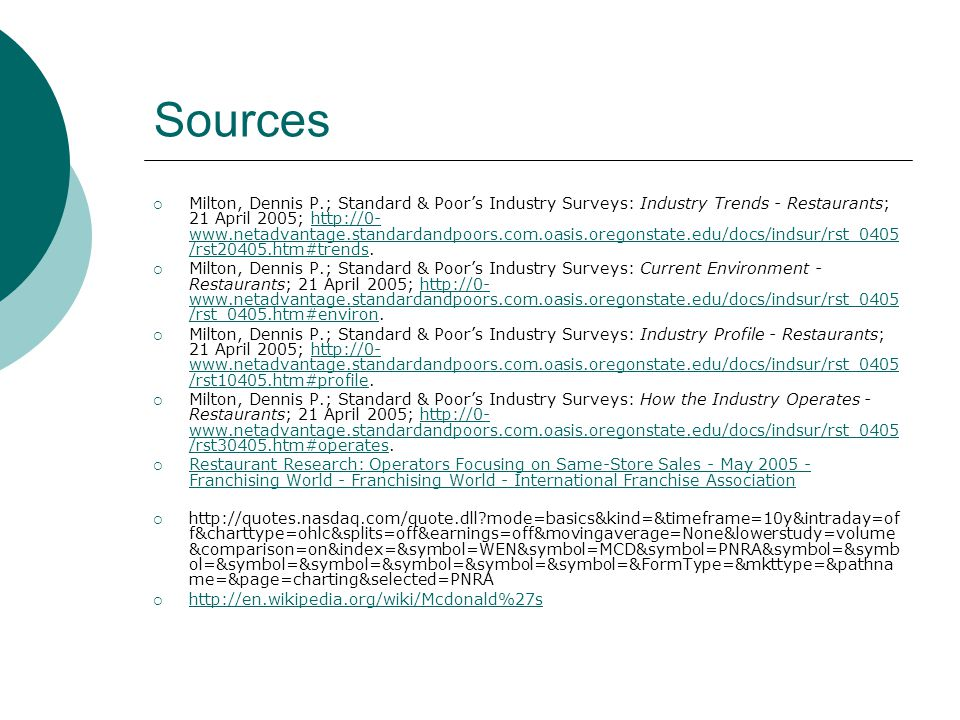 Sources Milton, Dennis P.; Standard & Poors Industry Surveys: Industry Trends - Restaurants; 21 April 2005; http://0- www.netadvantage.standardandpoors.com.oasis.oregonstate.edu/docs/indsur/rst_0405 /rst20405.htm#trends.http://0- www.netadvantage.standardandpoors.com.oasis.oregonstate.edu/docs/indsur/rst_0405 /rst20405.htm#trends Milton, Dennis P.; Standard & Poors Industry Surveys: Current Environment - Restaurants; 21 April 2005; http://0- www.netadvantage.standardandpoors.com.oasis.oregonstate.edu/docs/indsur/rst_0405 /rst_0405.htm#environ.http://0- www.netadvantage.standardandpoors.com.oasis.oregonstate.edu/docs/indsur/rst_0405 /rst_0405.htm#environ Milton, Dennis P.; Standard & Poors Industry Surveys: Industry Profile - Restaurants; 21 April 2005; http://0- www.netadvantage.standardandpoors.com.oasis.oregonstate.edu/docs/indsur/rst_0405 /rst10405.htm#profile.http://0- www.netadvantage.standardandpoors.com.oasis.oregonstate.edu/docs/indsur/rst_0405 /rst10405.htm#profile Milton, Dennis P.; Standard & Poors Industry Surveys: How the Industry Operates - Restaurants; 21 April 2005; http://0- www.netadvantage.standardandpoors.com.oasis.oregonstate.edu/docs/indsur/rst_0405 /rst30405.htm#operates.http://0- www.netadvantage.standardandpoors.com.oasis.oregonstate.edu/docs/indsur/rst_0405 /rst30405.htm#operates Restaurant Research: Operators Focusing on Same-Store Sales - May 2005 - Franchising World - Franchising World - International Franchise Association Restaurant Research: Operators Focusing on Same-Store Sales - May 2005 - Franchising World - Franchising World - International Franchise Association http://quotes.nasdaq.com/quote.dll?mode=basics&kind=&timeframe=10y&intraday=of f&charttype=ohlc&splits=off&earnings=off&movingaverage=None&lowerstudy=volume &comparison=on&index=&symbol=WEN&symbol=MCD&symbol=PNRA&symbol=&symb ol=&symbol=&symbol=&symbol=&symbol=&symbol=&FormType=&mkttype=&pathna me=&page=charting&selected=PNRA http://en.wikipedia.org/wiki/Mcdonald%27s