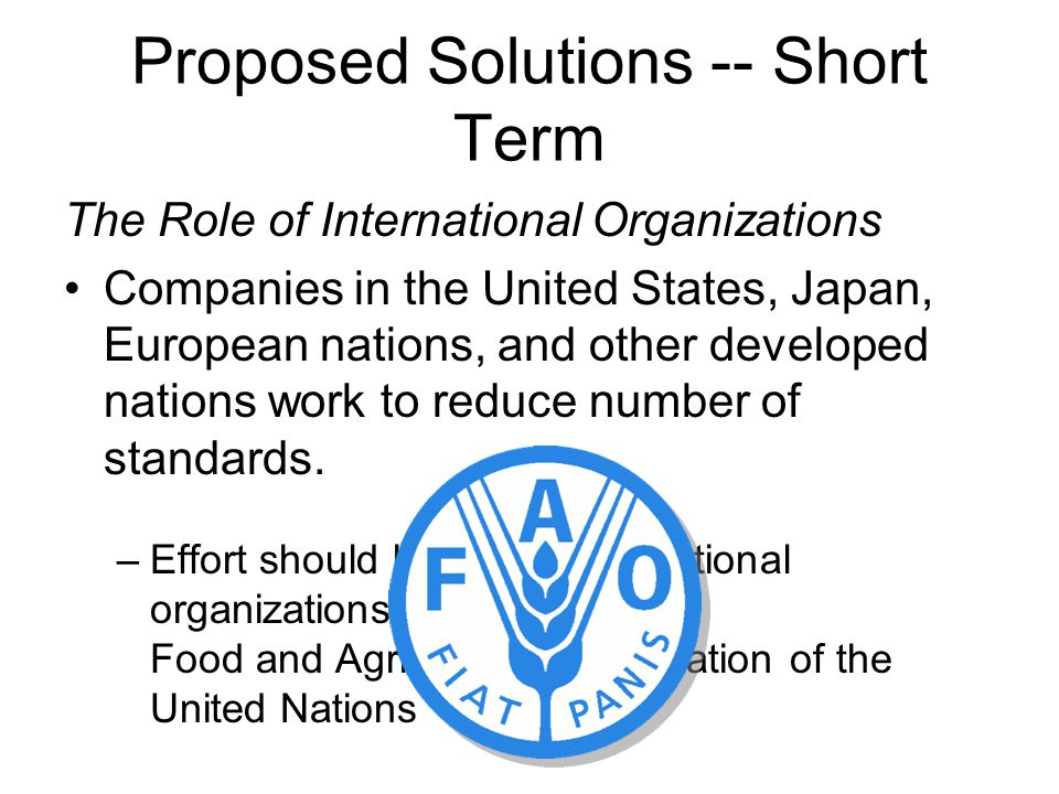 Proposed Solutions -- Short Term The Role of International Organizations Companies in the United States, Japan, European nations, and other developed nations work to reduce number of standards.