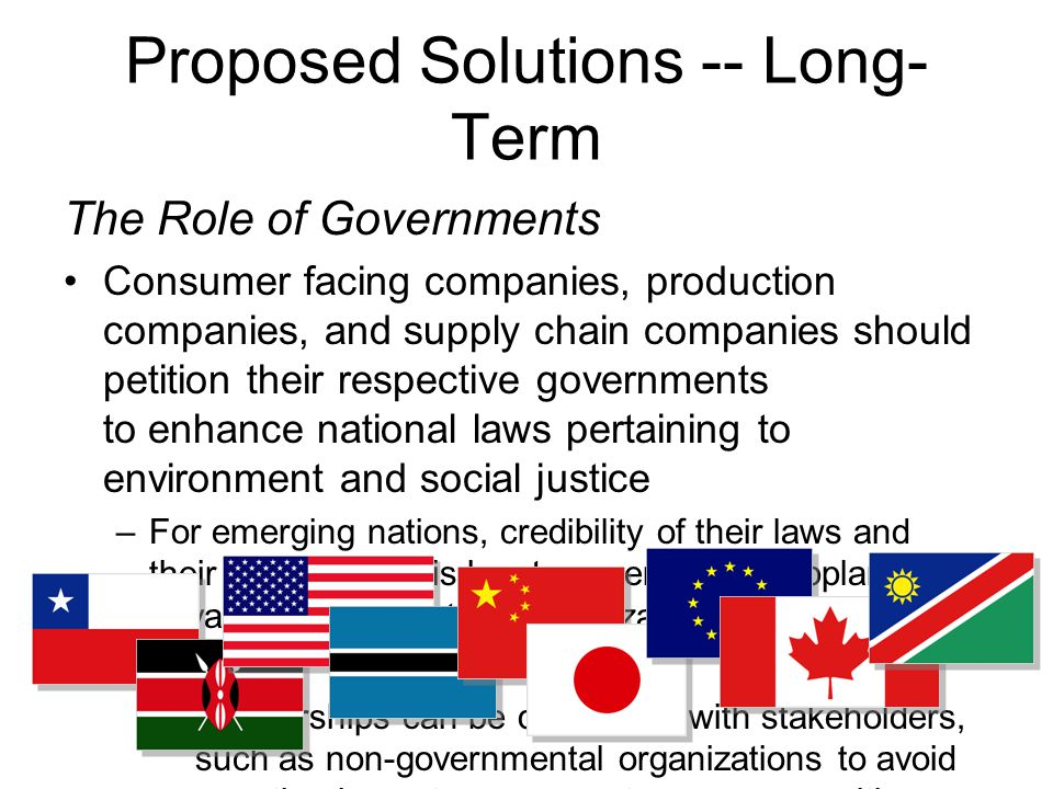 Proposed Solutions -- Long- Term The Role of Governments Consumer facing companies, production companies, and supply chain companies should petition their respective governments to enhance national laws pertaining to environment and social justice –For emerging nations, credibility of their laws and their enforcement is key to government supplanting private standard setting organizations Partnerships can be developed with stakeholders, such as non-governmental organizations to avoid negative impacts on ecosystems, communities, and other unplanned activities
