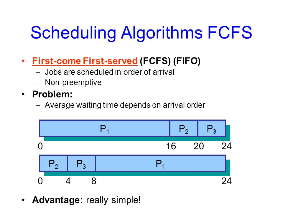 Scheduling Algorithms FCFS First-come First-served (FCFS) (FIFO) –Jobs are scheduled in order of arrival –Non-preemptive Problem: –Average waiting time depends on arrival order Advantage: really simple.