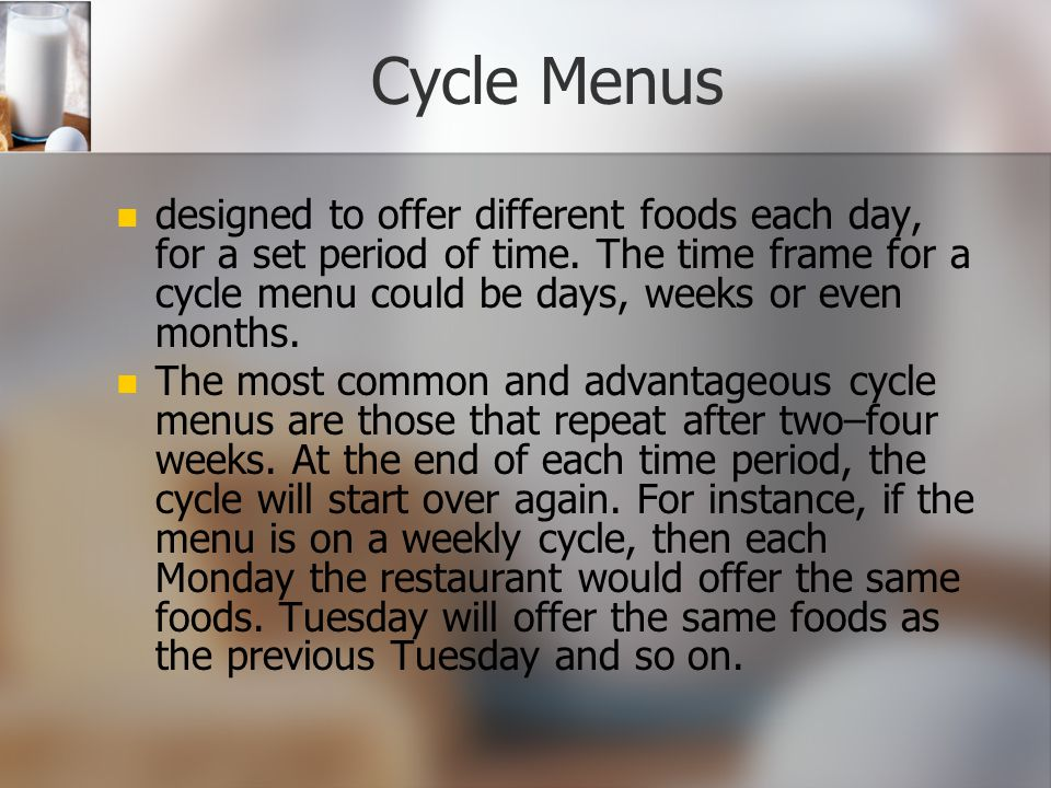 Final Note on Fixed Menus Customers who dine at a restaurant that offers a fixed menu always know what to expect before they arrive; very seldom does