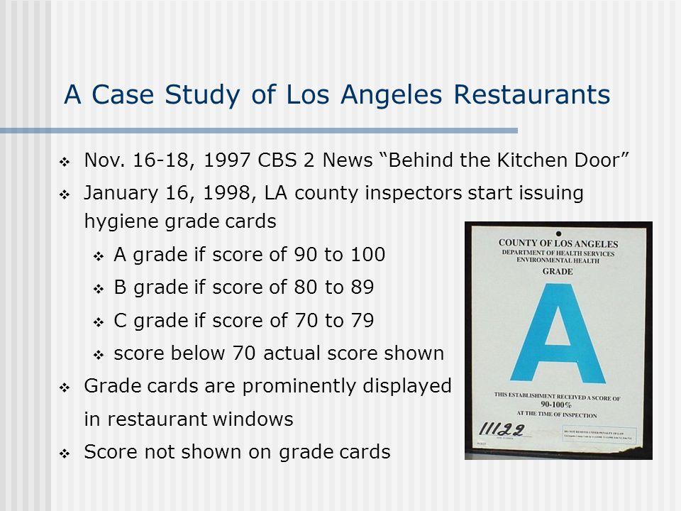 A Case Study of Los Angeles Restaurants Nov.