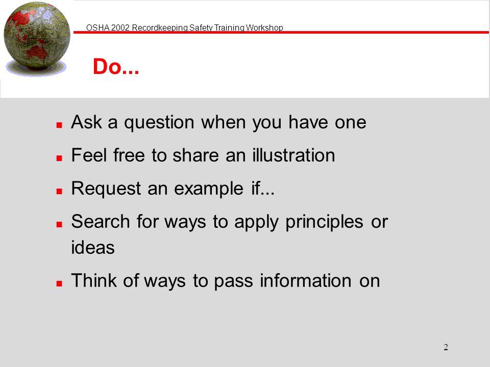OSHA 2002 Recordkeeping Safety Training Workshop 2 Do...