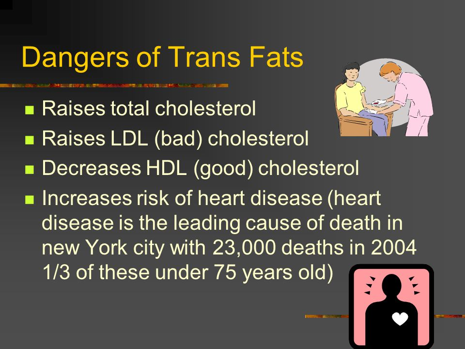 Dangers of Trans Fats Raises total cholesterol Raises LDL (bad) cholesterol Decreases HDL (good) cholesterol Increases risk of heart disease (heart disease is the leading cause of death in new York city with 23,000 deaths in /3 of these under 75 years old)