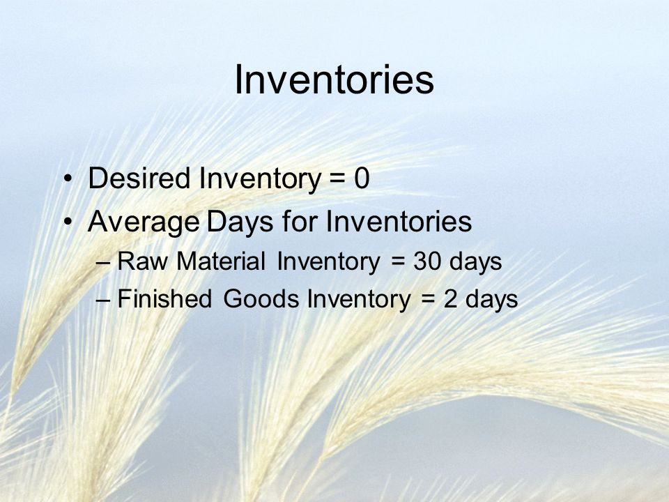 Inventories Desired Inventory = 0 Average Days for Inventories –Raw Material Inventory = 30 days –Finished Goods Inventory = 2 days