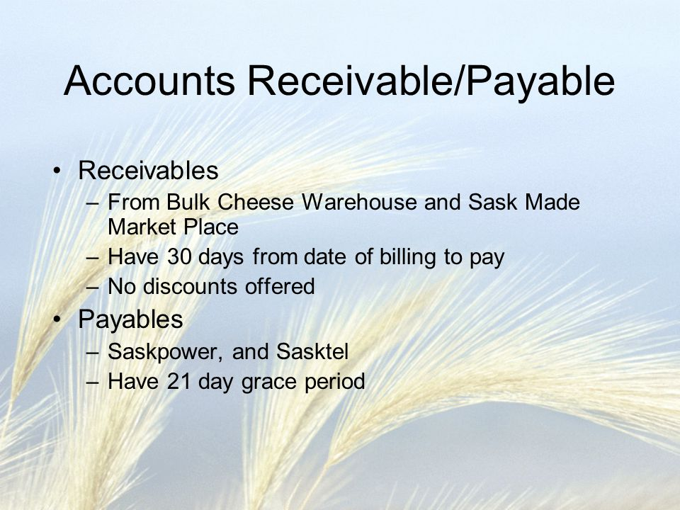 Accounts Receivable/Payable Receivables –From Bulk Cheese Warehouse and Sask Made Market Place –Have 30 days from date of billing to pay –No discounts offered Payables –Saskpower, and Sasktel –Have 21 day grace period