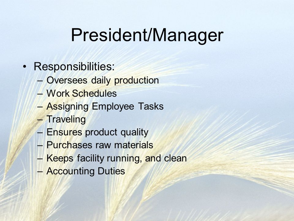 President/Manager Responsibilities: –Oversees daily production –Work Schedules –Assigning Employee Tasks –Traveling –Ensures product quality –Purchases raw materials –Keeps facility running, and clean –Accounting Duties