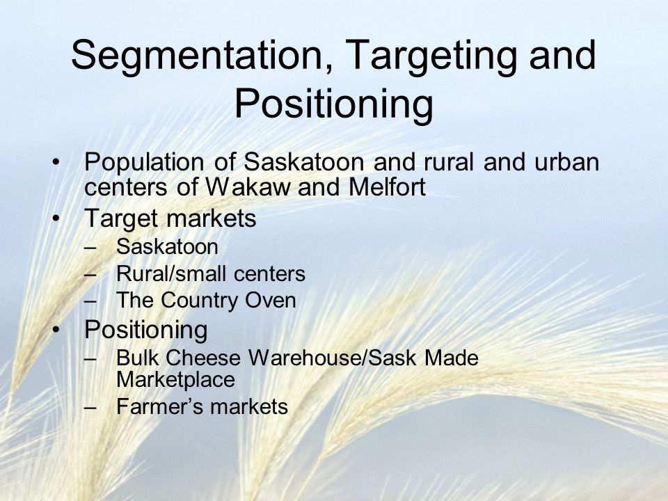 Segmentation, Targeting and Positioning Population of Saskatoon and rural and urban centers of Wakaw and Melfort Target markets –Saskatoon –Rural/smal