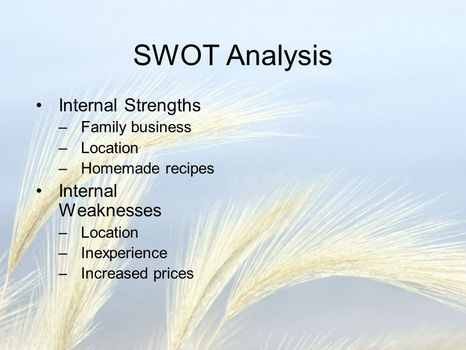 SWOT Analysis Internal Strengths –Family business –Location –Homemade recipes Internal Weaknesses –Location –Inexperience –Increased prices