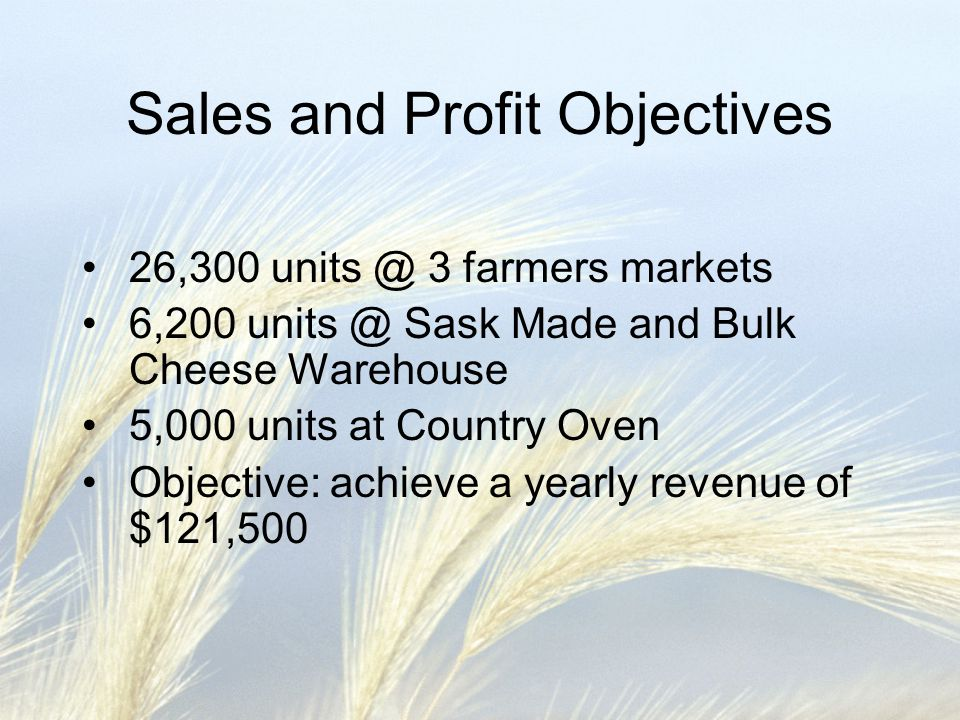 Sales and Profit Objectives 26,300 units @ 3 farmers markets 6,200 units @ Sask Made and Bulk Cheese Warehouse 5,000 units at Country Oven Objective: achieve a yearly revenue of $121,500