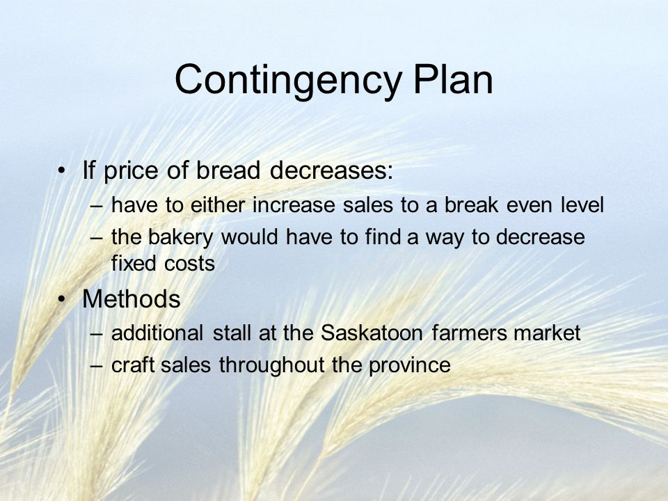 Contingency Plan If price of bread decreases: –have to either increase sales to a break even level –the bakery would have to find a way to decrease fi