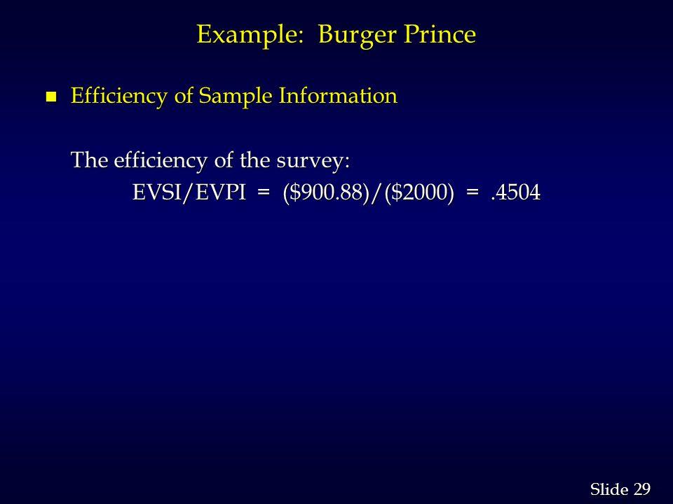 29 Slide Example: Burger Prince n Efficiency of Sample Information The efficiency of the survey: EVSI/EVPI = ($900.88)/($2000) =.4504