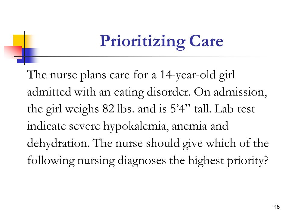 46 Prioritizing Care The nurse plans care for a 14-year-old girl admitted with an eating disorder.