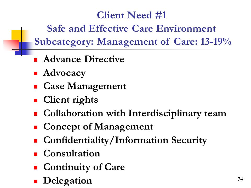 74 Advance Directive Advocacy Case Management Client rights Collaboration with Interdisciplinary team Concept of Management Confidentiality/Information Security Consultation Continuity of Care Delegation Client Need #1 Safe and Effective Care Environment Subcategory: Management of Care: 13-19%