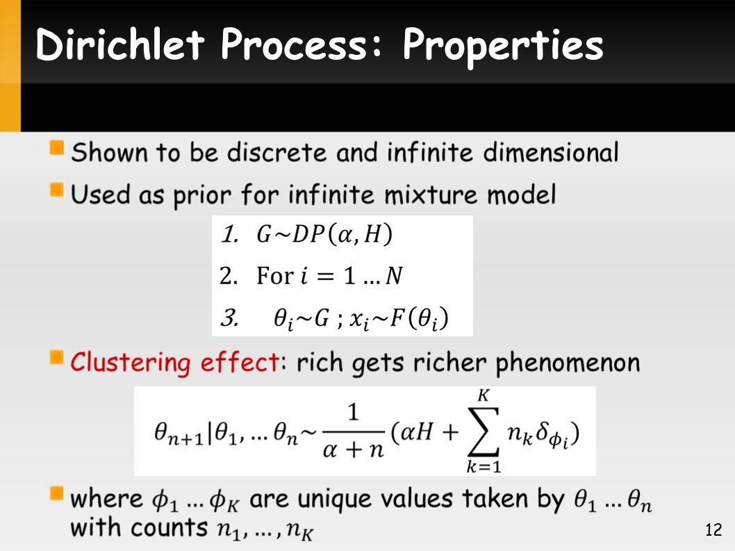 Dirichlet Process: Properties 12