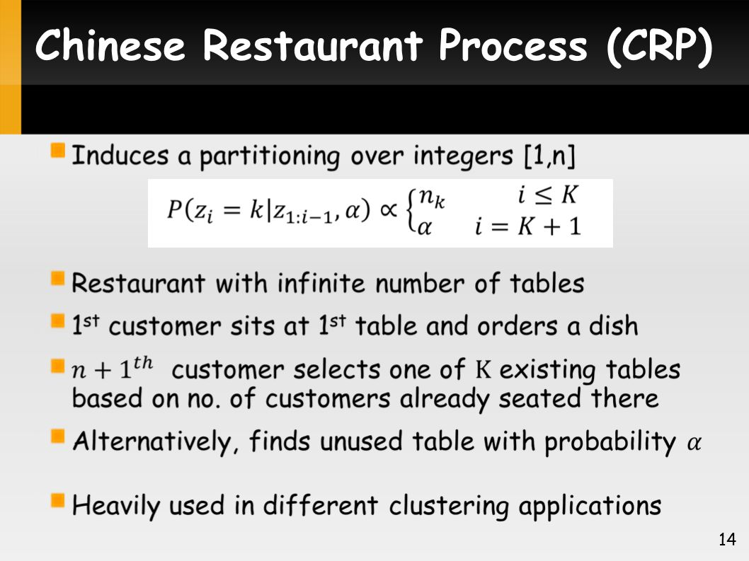 Chinese Restaurant Process (CRP) 14