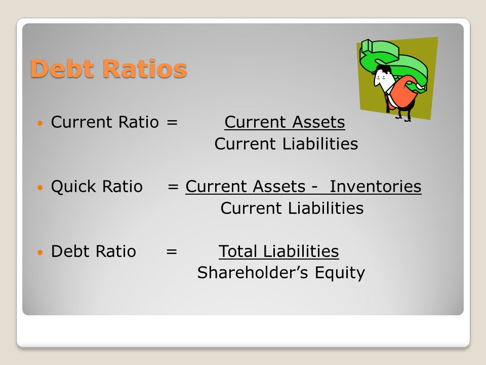Debt Ratios Current Ratio = Current Assets Current Liabilities Quick Ratio = Current Assets - Inventories Current Liabilities Debt Ratio = Total Liabilities Shareholders Equity