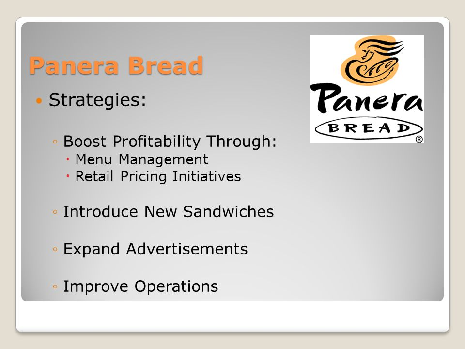 Panera Bread Strategies: Boost Profitability Through: Menu Management Retail Pricing Initiatives Introduce New Sandwiches Expand Advertisements Improve Operations