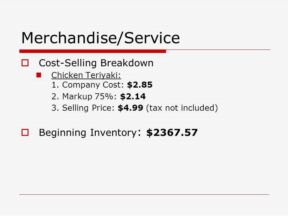 Merchandise/Service Cost-Selling Breakdown Chicken Teriyaki: 1.
