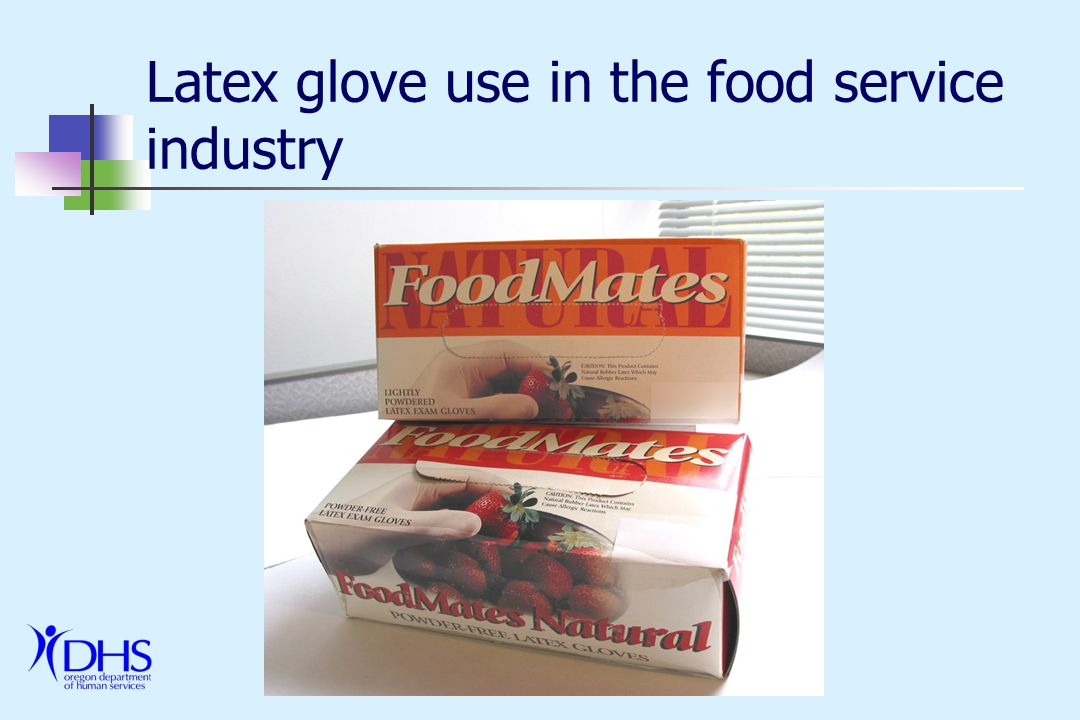 Conclusions Natural rubber latex has an important place Protection against exposure to blood borne pathogens –> in health care Low protein/powder free gloves safest option for people who are not already latex sensitive Many alternative glove materials exist Glove selection should be specific to use