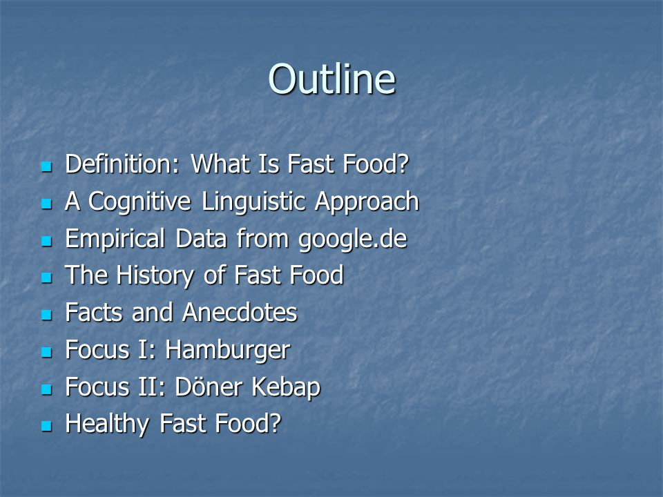 Definition: What Is Fast Food.