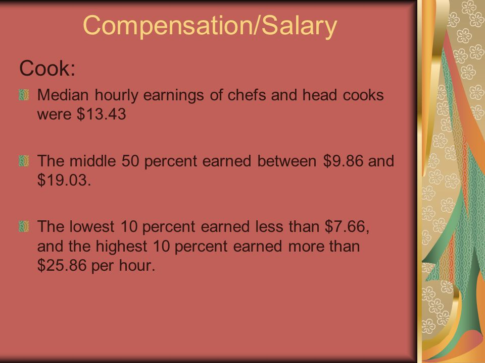 Compensation/Salary Cook: Median hourly earnings of chefs and head cooks were $13.43 The middle 50 percent earned between $9.86 and $19.03.