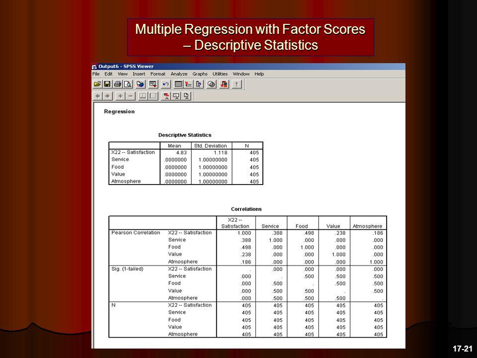Multiple Regression with Factor Scores – Descriptive Statistics 17-21