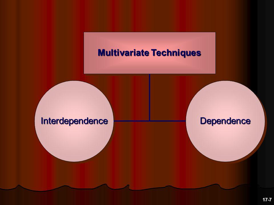 Dependence Methods Examples: multiple regression analysis, discriminant analysis, ANOVA and MANOVA...