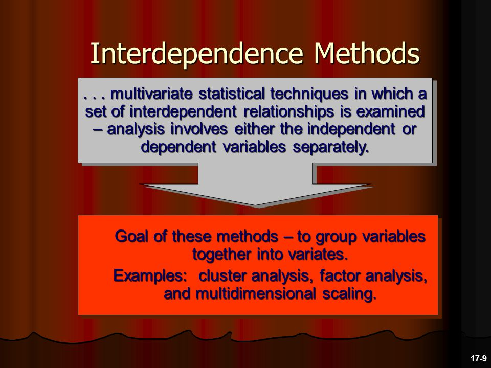 Interdependence Methods Goal of these methods – to group variables together into variates.