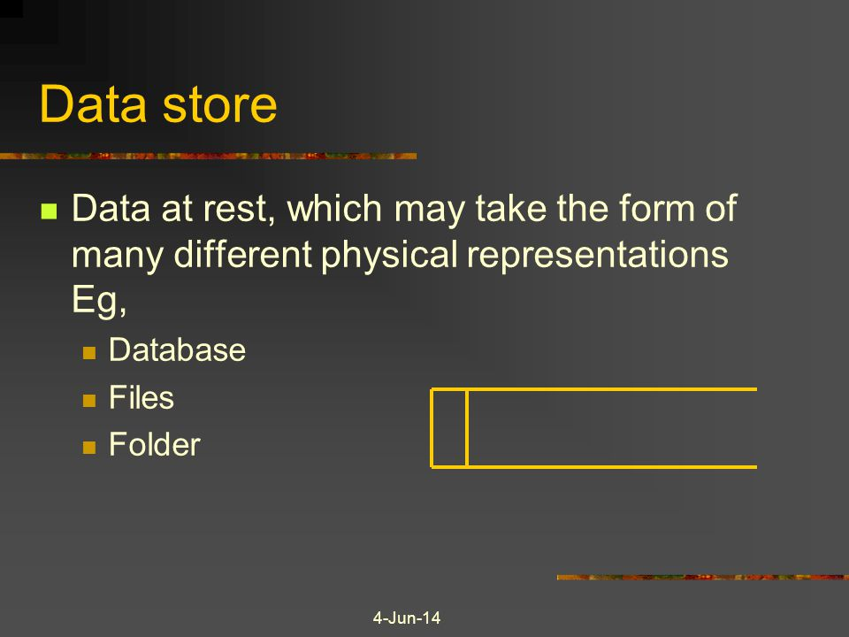 4-Jun-14 Data store Data at rest, which may take the form of many different physical representations Eg, Database Files Folder