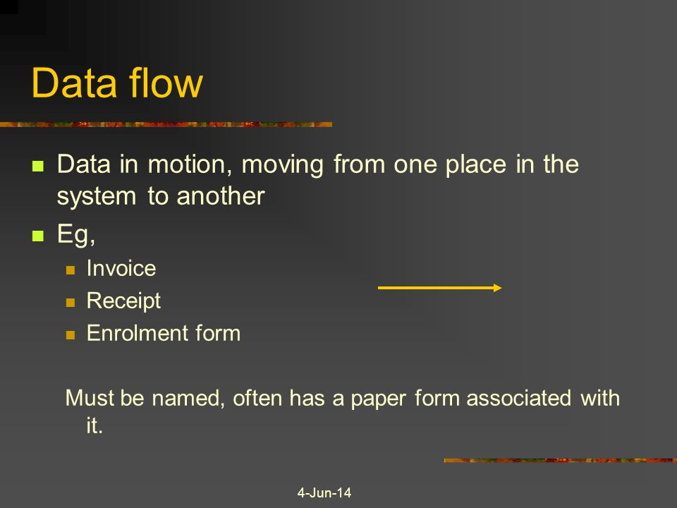 4-Jun-14 Data flow Data in motion, moving from one place in the system to another Eg, Invoice Receipt Enrolment form Must be named, often has a paper