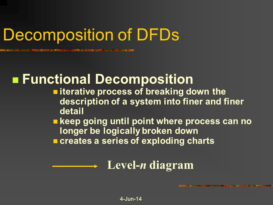 Decomposition of DFDs Functional Decomposition iterative process of breaking down the description of a system into finer and finer detail keep going until point where process can no longer be logically broken down creates a series of exploding charts Level-n diagram